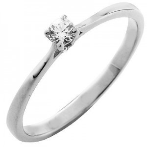 Solitaire Iris or & diamant serti griffes 0,10 carat. Collection Soyance